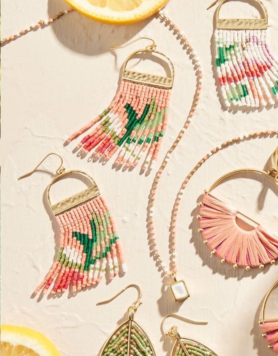 Spartina Bitty Bead Earrings Pink Lemonade
