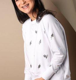Words Count Rafaella Heart Rayo Sweatshirt White