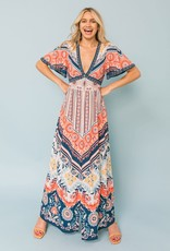 Flying Tomato Ivory & Coral Maxi Dress