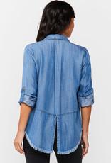 Velvet Heart Riley Julian Button-Up Frayed Hem Shirt