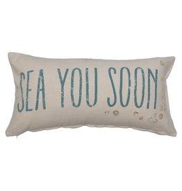 "Lumbar Pillow with Buttons ""Sea You Soon"