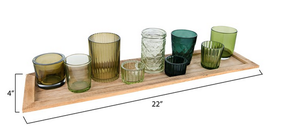 Wood Tray w/ 9 Glass Votive Holders