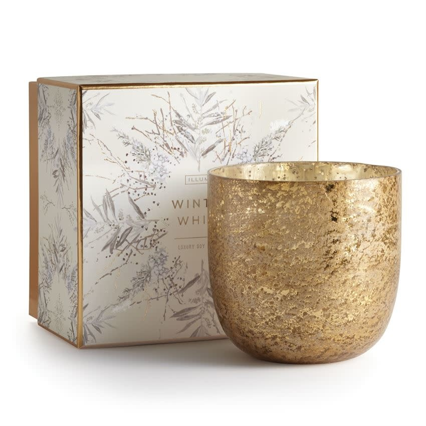 Illume Winter White Luxe Sanded Mercury Glass Candle
