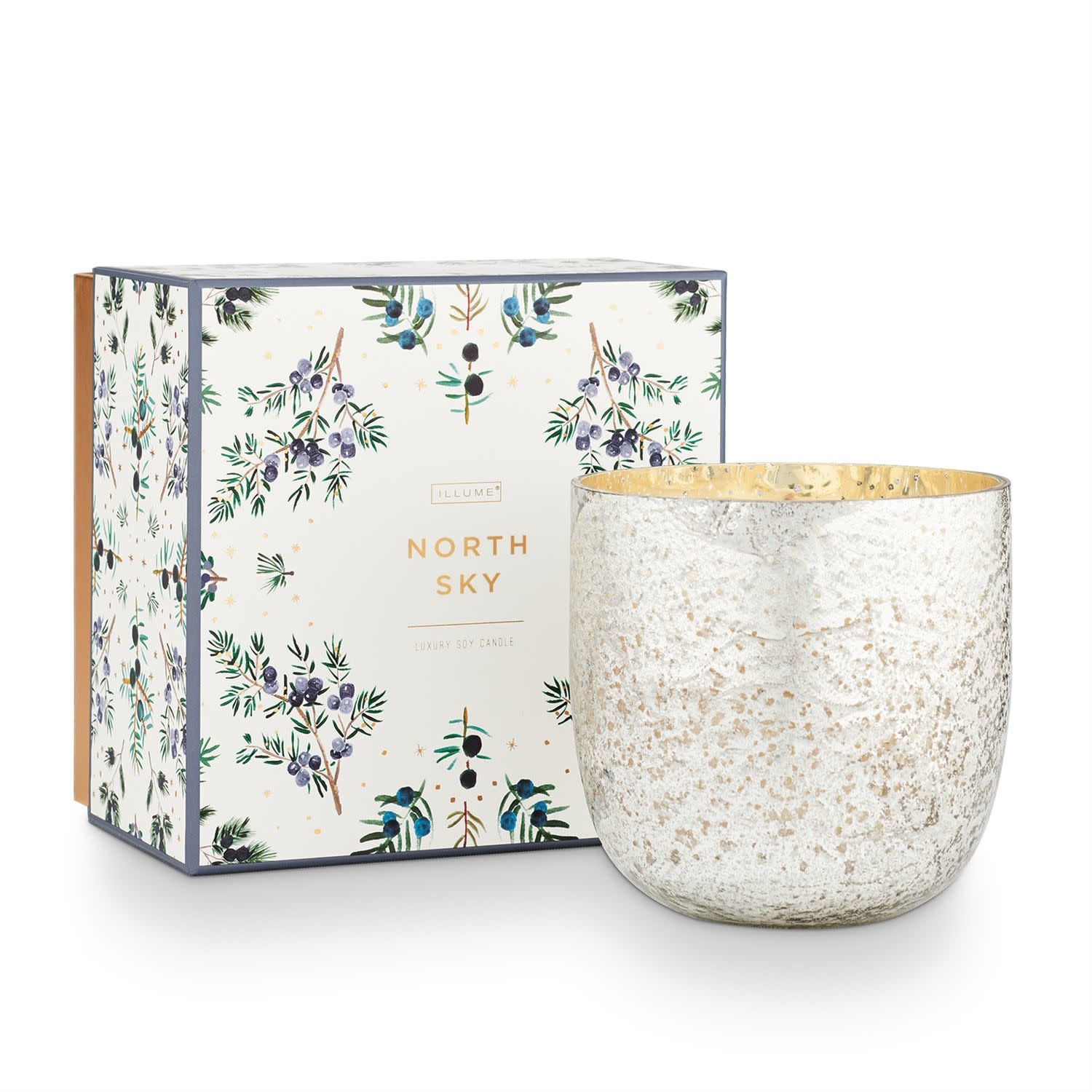 Illume North Sky  Luxe Sanded Mercury Glass Candle