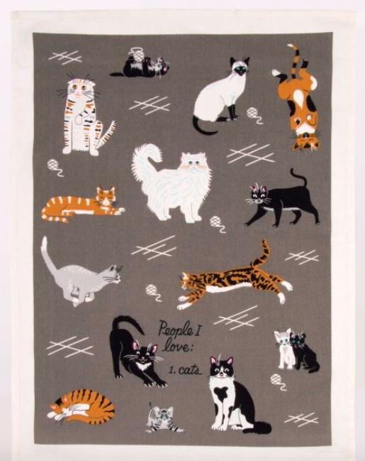Blue Q People I Love: Cats Dish Towel