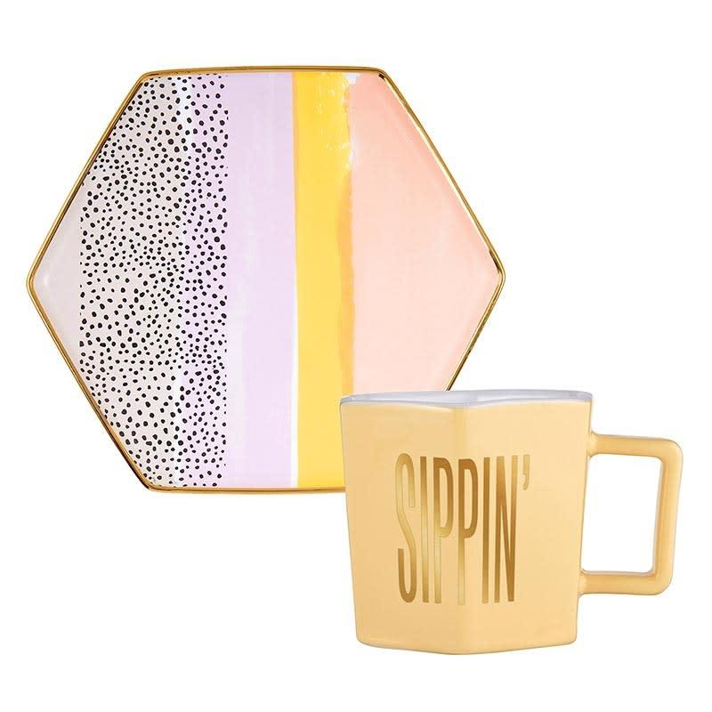 Slant Hexagon Mug & Saucer Set - Sippin'