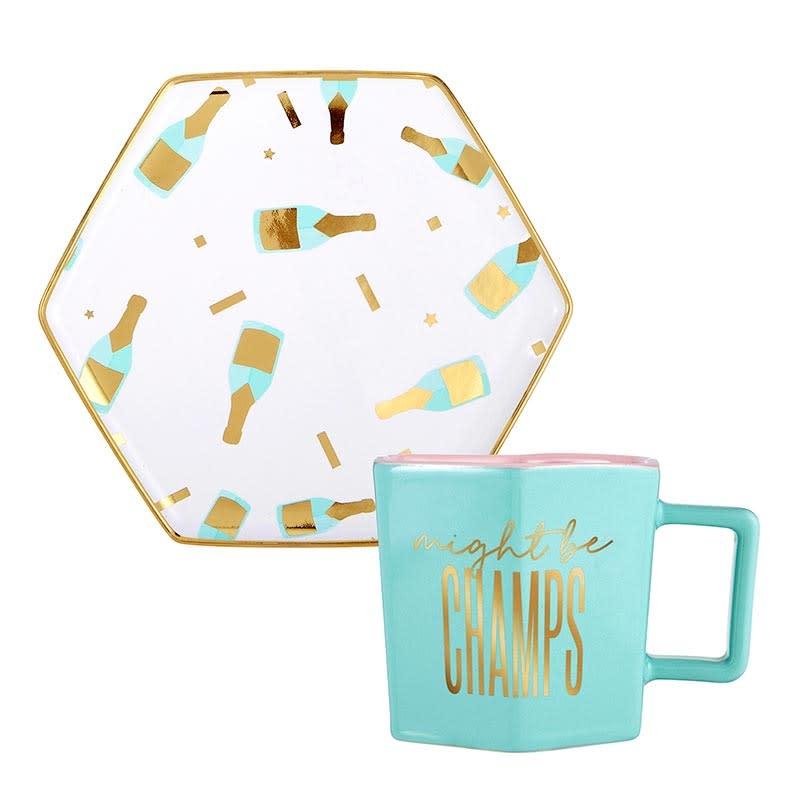 Slant Hexagon Mug & Saucer Set - Might Be Champs