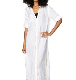 Boyfriend Maxi Dress White/Gold