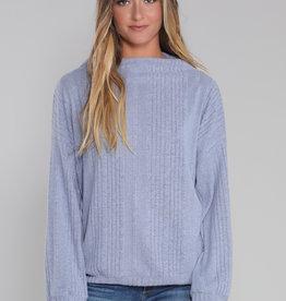 Hello Nite Cozy Mock Sweater Blue
