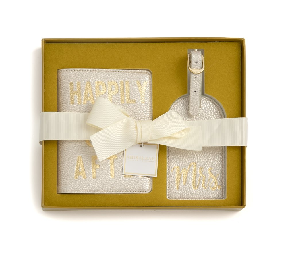 """Shiraleah """"Happily Ever After / Mrs"""" Passport And Luggage Tag Gift Set"""