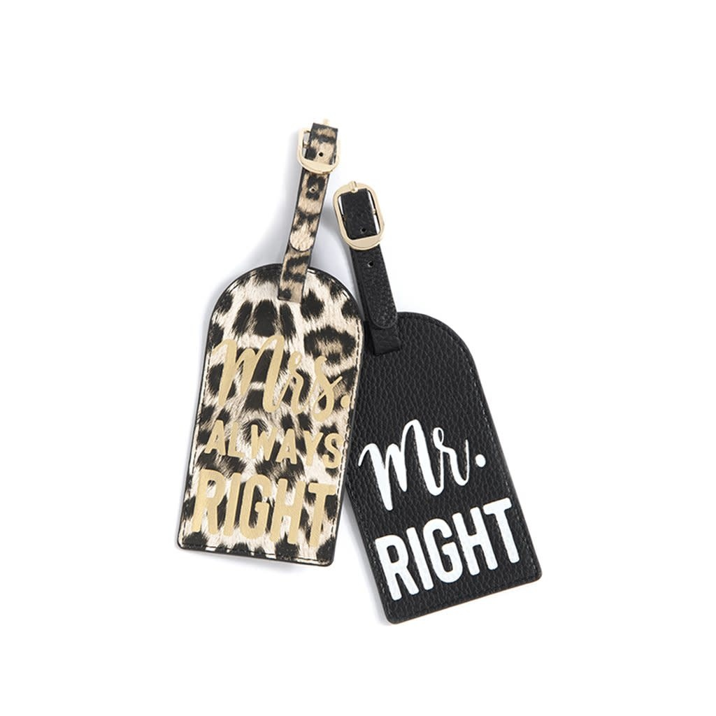 """Shiraleah Set Of 2 """"Mr. Right/Mrs. Always Right"""" Luggage Tags"""