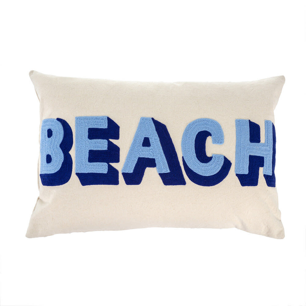 Indaba Beach Embroidered Pillow