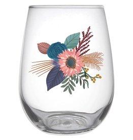 Slant Stemless Wine Glass - Fall Bouquet