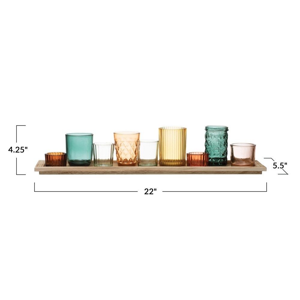 Embossed Glass Tealight Holders with Wood Tray Set of 9