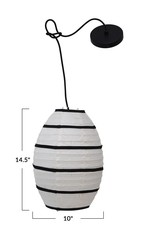"""10"""" Round Paper Pendant Lamp with Black Fabric Stripes"""
