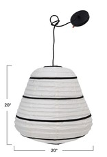 "20"" Round Paper Pendant Lamp w/ Black Fabric Stripes"