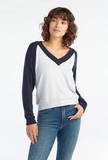 Red Haute V Neck Sweater Ice/Navy
