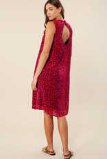 Hale Bob Velvet Burnout Dress Raspberry