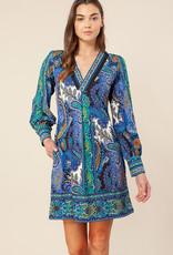Hale Bob Paisley Dress Blue