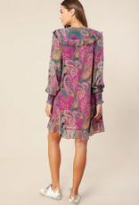 Hale Bob Ruffle Dress Fuchsia