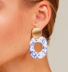 Zenzii Blue Marbled Drop Earring