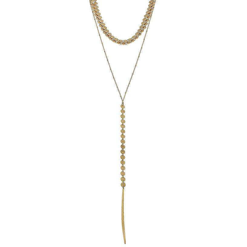 Jewelry Layered Spear Pendant Necklace