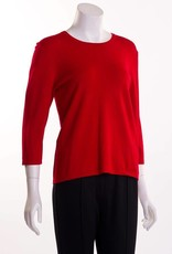 Erin London 3/4 Sleeve Crew Neck Anchor Red