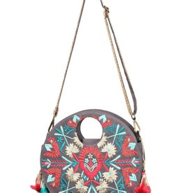 Embroidered Round Bag with Strap