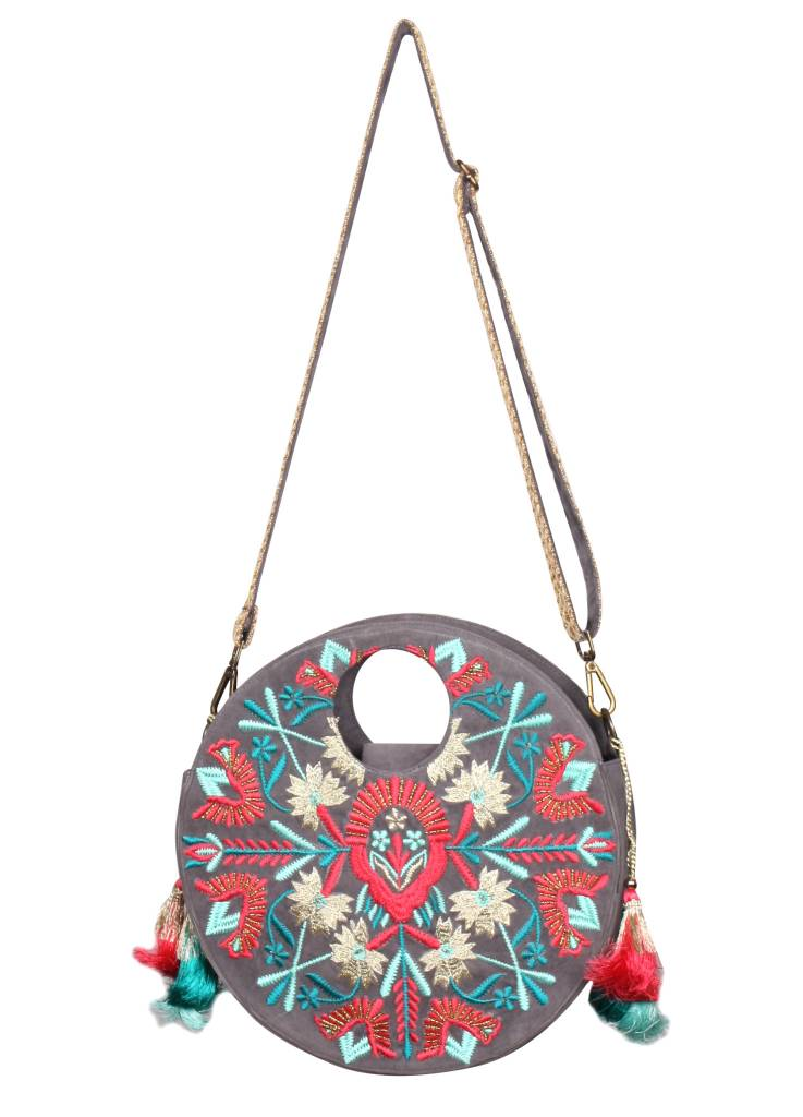 Embroidered Round Bag with Strap - Lux Boutique