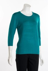 Erin London 3/4 Sleeve Crew Neck Teal Green