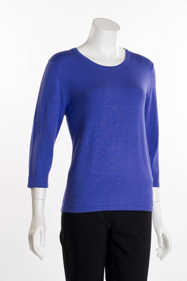 Erin London 3/4 Sleeve Crew Neck Deep Periwinkle