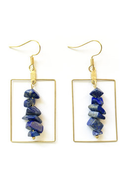 Gemstone Rectangle Earrings
