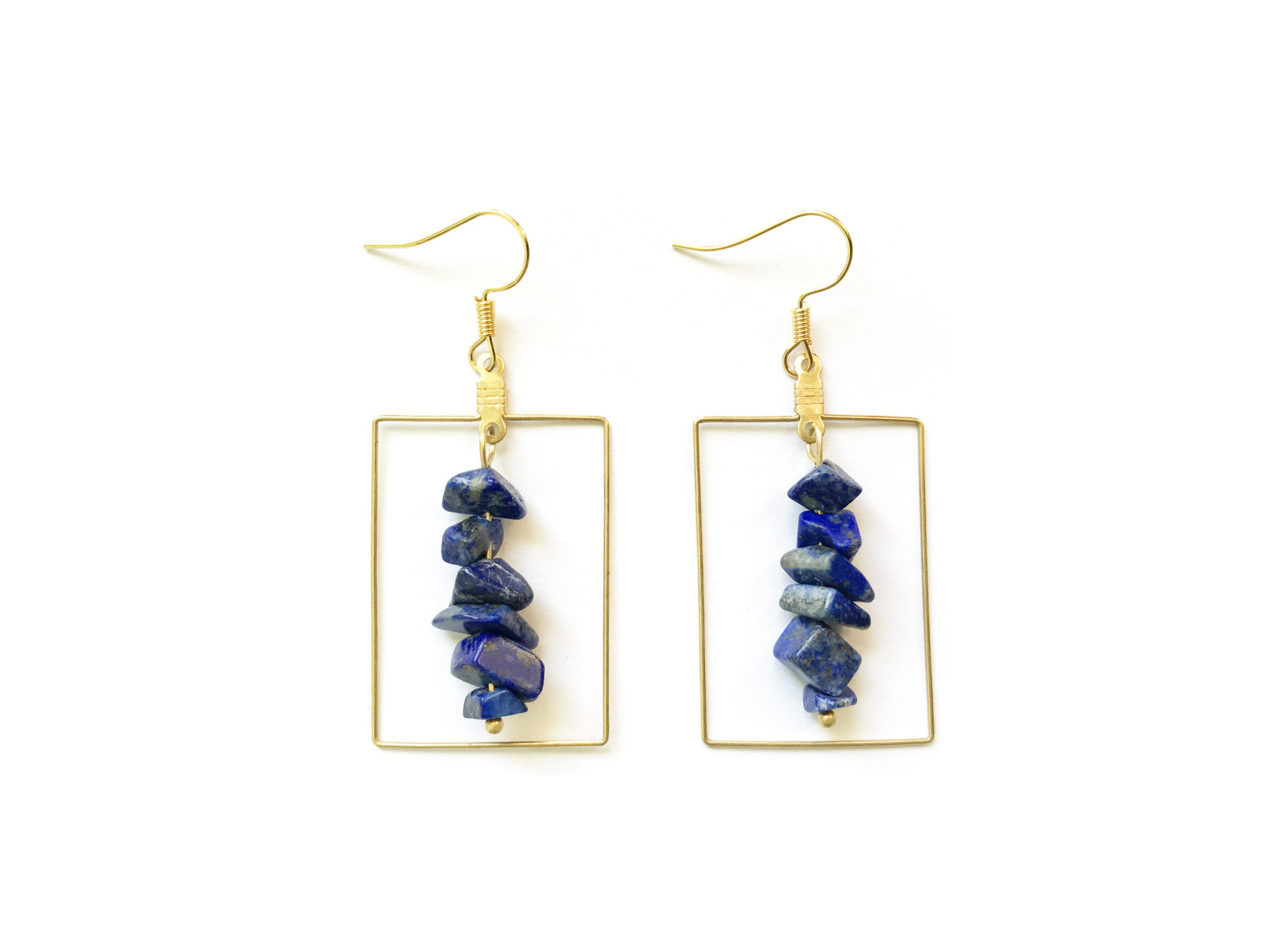 Gemstone Rectangle Earrings