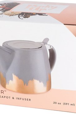 Ceramic Teapot Infuser, Grey and Gold