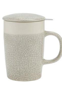 White Crackle Glaze, Tea Infuser Mug 16 oz