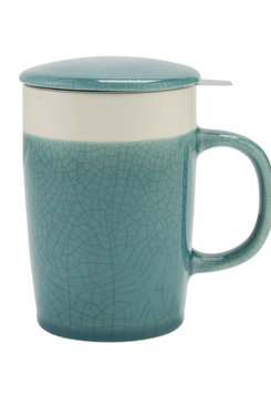 Crackle Turquoise, Tea Infuser Mug 16 oz