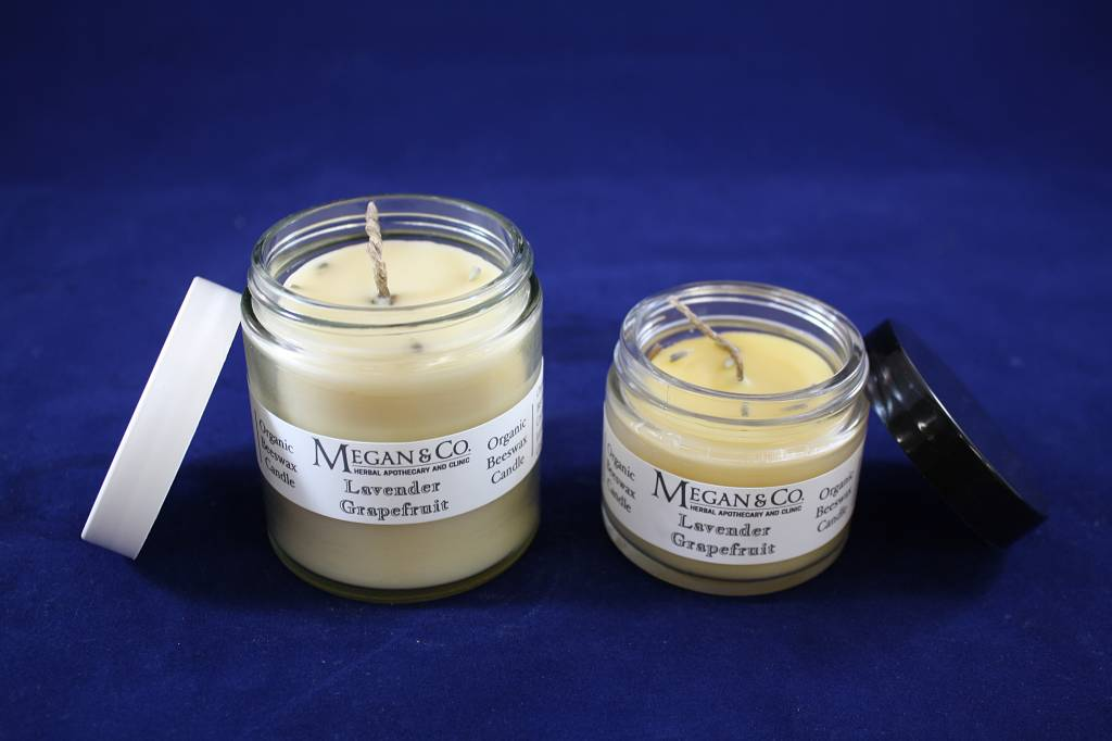 Lavender Grapefruit Beeswax Candle 4oz