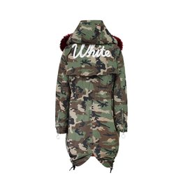 Off-White N/A - Off-white Camouflage Red Fur Lining Parka