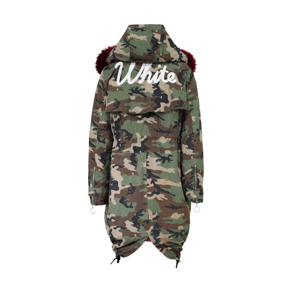 dea7be4809e9a Off-white Camouflage Red Fur Lining Parka - Boutique LUC.S