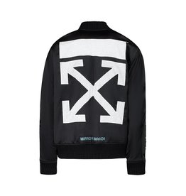 Off-White N/A - Off-White Black Satin Souvenir Bomber with Tiger Embroidery
