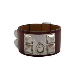 Hermès N/A - Hermès Oxblood Collier De Chien Bracelet