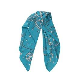 Hermès Hermès foulard en soie turquoise Cheval Fusion