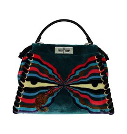 Fendi N/A - Fendi Medium Multicolour Velvet Peekaboo