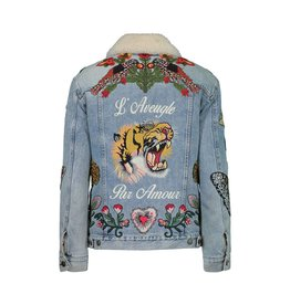 Gucci Gucci Tiger Embroidered Shearling Denim Jacket