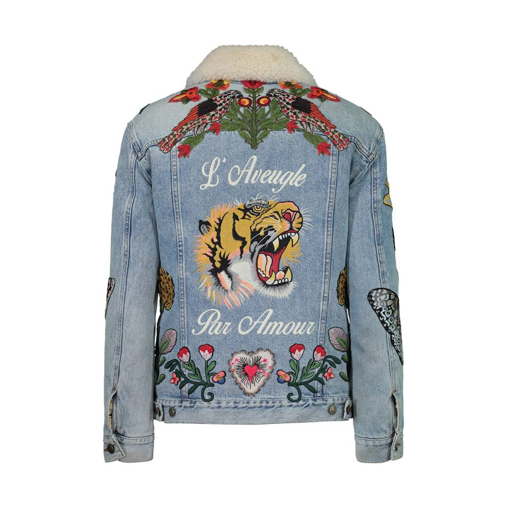 Gucci Tiger Embroidered Shearling Denim Jacket - Boutique LUC.S c02a341972fe