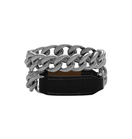 Hermès Hermès Black Leather And Chain Wrap Bracelet