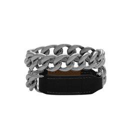 Hermès Hermès bracelet en cuir noir et chaîne