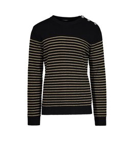 Balmain N/A - Balmain Black Gold Striped Wool Sweater