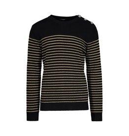 Balmain NON DISPONIBLE - Balmain pull rayé noir et or en laine