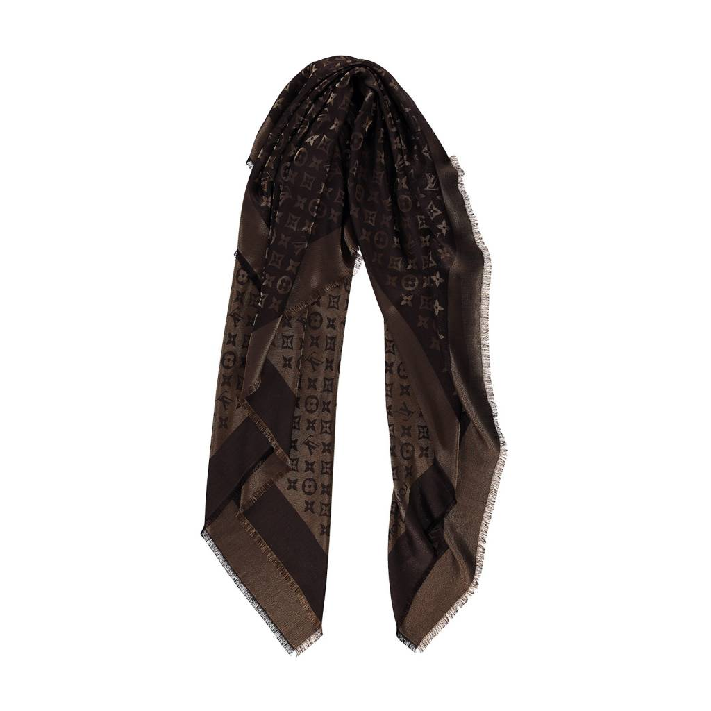 1654d5b3949 Louis Vuitton NON DISPONIBLE - Louis Vuitton foulard soyeux brun et  monogramme ...